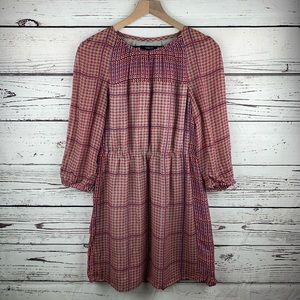 Madewell Silk Peasant Retrogrid Dress